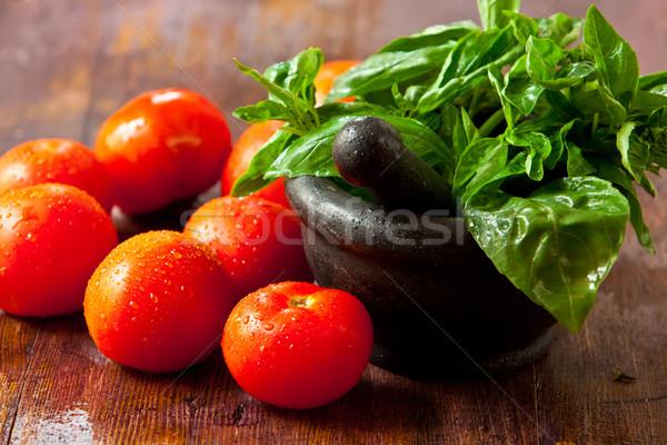 Legumes fresco manjericão comida madeira Foto stock © trexec