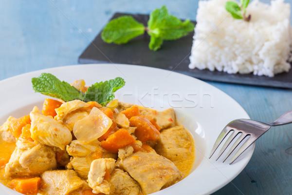 Cucina indiana pollo al curry indian stile riso menta Foto d'archivio © trexec