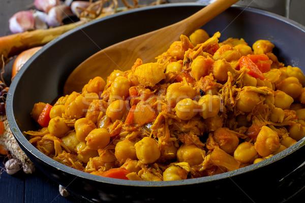 Indiai étel tyúk fűszer főtt indiai stílus Stock fotó © trexec