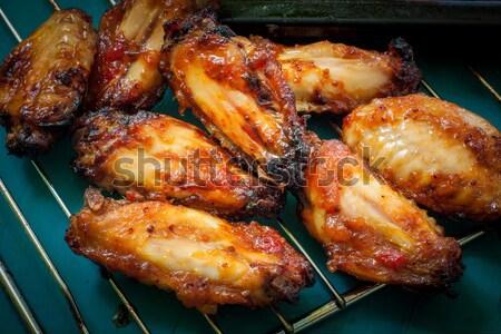 Quente picante churrasco frango asas Foto stock © trexec