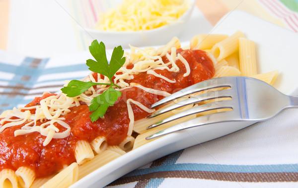 Makarna domates İtalyan gıda peynir maydanoz plaka Stok fotoğraf © trexec