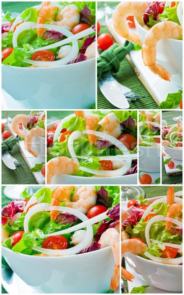 Salada verde camarão colagem comida restaurante Foto stock © trexec