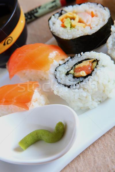 Sushi dienblad wasabi saus voedsel Stockfoto © trexec