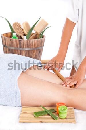 Fürdő profi masszőz készít bambusz masszázs Stock fotó © trexec