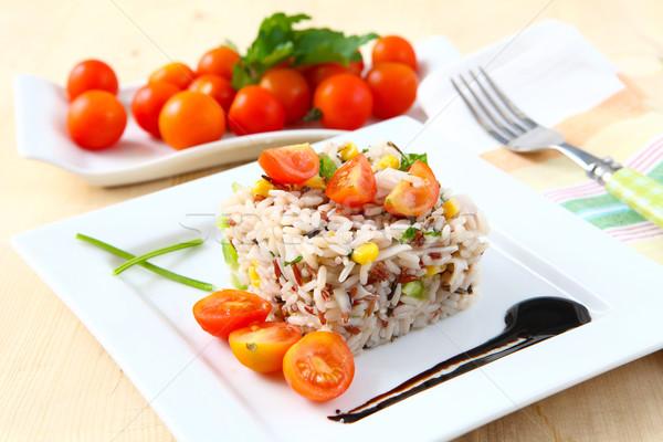 Arroz salada fresco legumes branco bandeja Foto stock © trexec