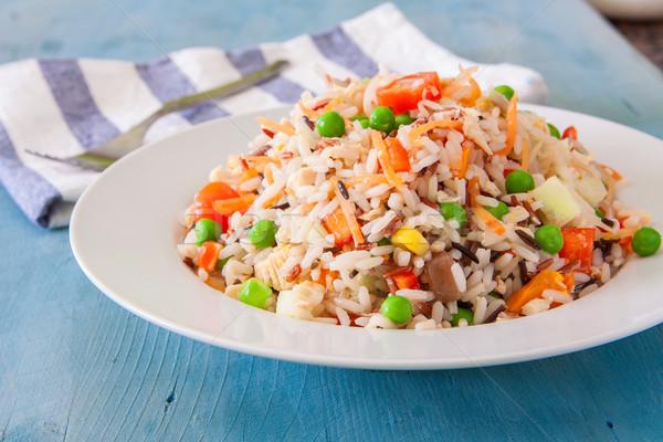 Rijst salade vers groenten witte kom Stockfoto © trexec