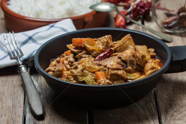 Indiai étel vaj csirkés curry indiai stílus basmati Stock fotó © trexec