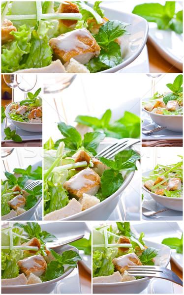 Салат коллаж соус куриные продовольствие Сток-фото © trexec