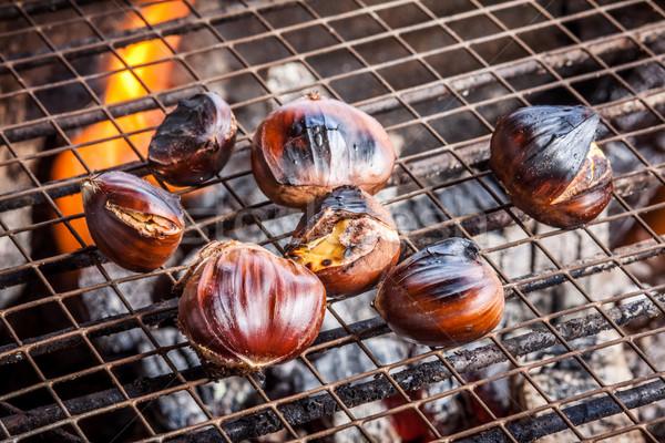 Fraîches grill feu charbon fond cuisson Photo stock © trexec