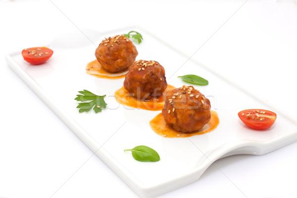Köfte domates sosu beyaz tepsi gıda kırmızı Stok fotoğraf © trexec