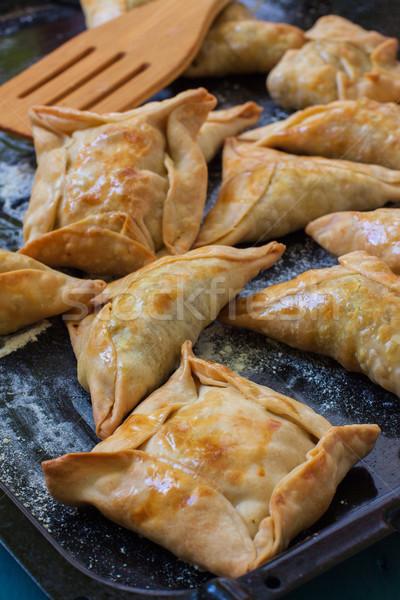 Stock fotó: Indiai · csirkés · curry · tálca · tányér · ujj · bárány