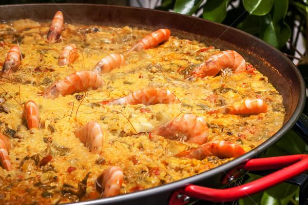 Espanhol arroz legumes peixe verde frango Foto stock © trexec