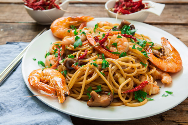 Oriental noodles with prawns Stock photo © trexec
