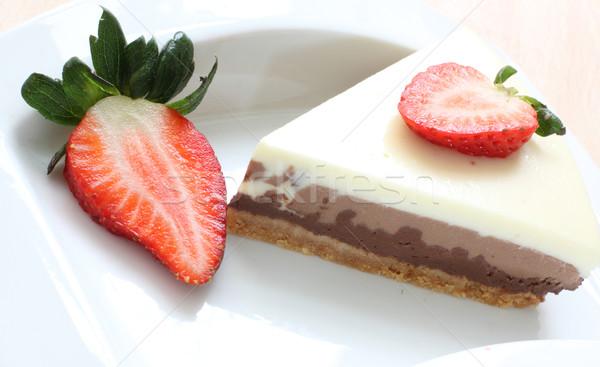 Bolo morango três bolo de chocolate morangos café Foto stock © trexec