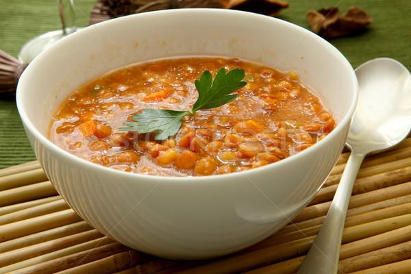 çorba beyaz çanak maydanoz akşam yemeği Stok fotoğraf © trexec