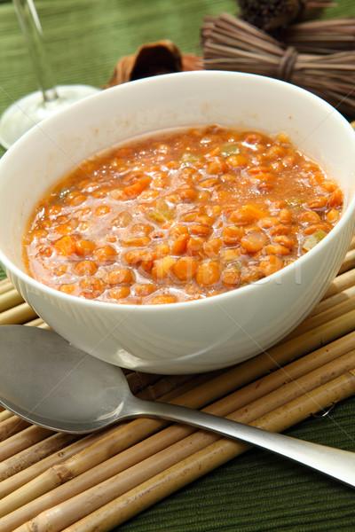çorba beyaz çanak kırmızı gıda Stok fotoğraf © trexec