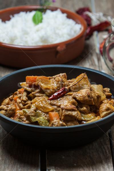 Comida indiana manteiga caril de frango indiano estilo basmati Foto stock © trexec