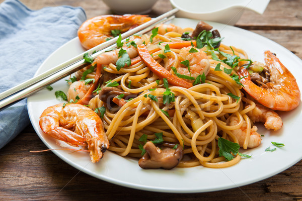 Oriental noodles with prawns Stock photo © trexec