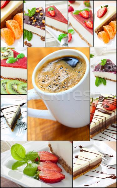 Sernik kolaż sernik owoce mięty owoców Zdjęcia stock © trexec