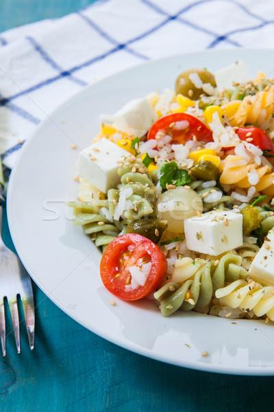 Pasta salade tomaat rijst witte Stockfoto © trexec