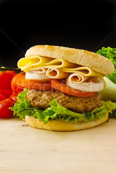 ビッグ ハンバーガー チーズ ハム 黒 ガラス ストックフォト © trexec