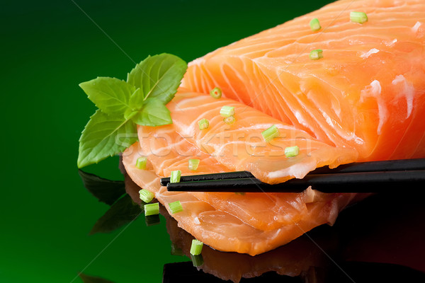 Salmão sashimi fatia fresco pronto peixe Foto stock © trexec