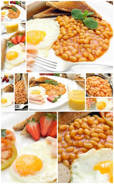 Ontbijt collage traditioneel Engels plaat voedsel Stockfoto © trexec