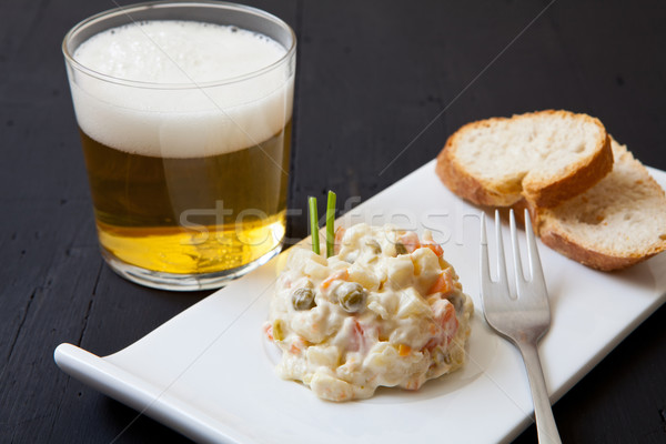 Patates salatası taze ekmek cam bira çatal Stok fotoğraf © trexec