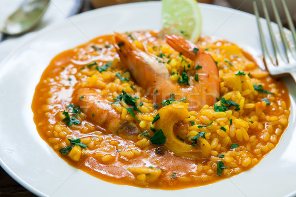 Espanhol arroz estilo frutos do mar lula Foto stock © trexec