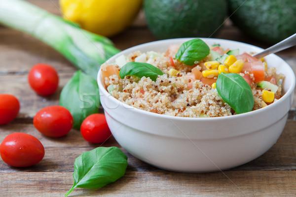 Vegan Salat gesunden Basilikum Blätter Kirsche Stock foto © trexec