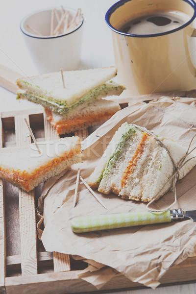 Sandwich koffie vers tomaat sla room Stockfoto © trexec