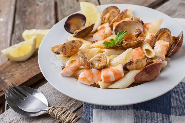 итальянский пасты макароны морепродуктов стиль Сток-фото © trexec