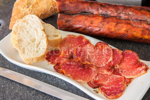 Spaans prosciutto paprika dienblad Rood vlees Stockfoto © trexec