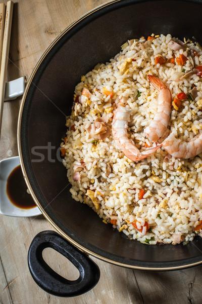 Keleti konyha kínai sült rizs garnéla wok Stock fotó © trexec