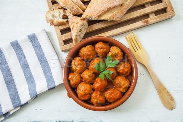Et domates İspanyolca domates sosu öğle yemeği Stok fotoğraf © trexec