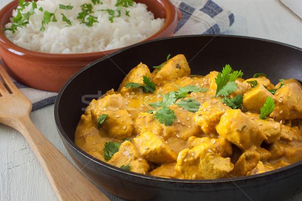 Pollo al curry burro basmati riso alimentare cena Foto d'archivio © trexec