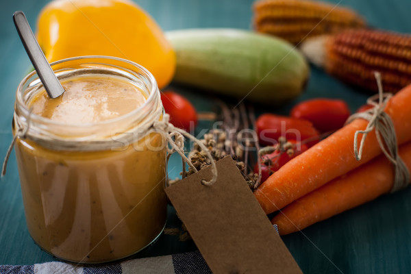 Creme garrafa legumes vidro etiqueta comida Foto stock © trexec