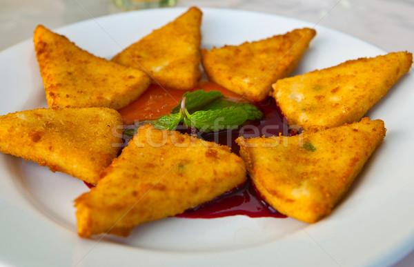 сыра частей жареный клубника Jam завтрак Сток-фото © trexec