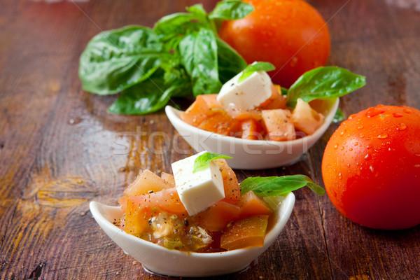 Italiano salada fresco tomates queijo manjericão Foto stock © trexec