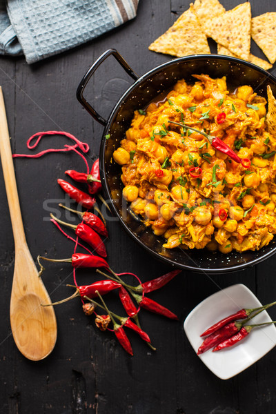 Stockfoto: Indiaas · eten · indian · kip · curry · erwten · schaal