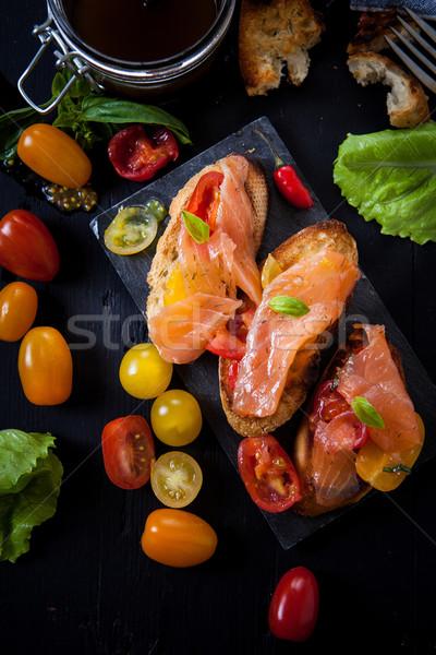 Italiaans eten zalm bruschetta vis Stockfoto © trexec