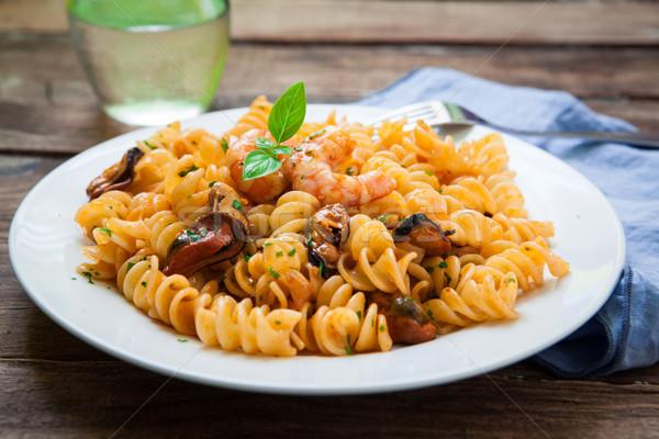 Frutos do mar italiano macarrão estilo caseiro manjericão Foto stock © trexec