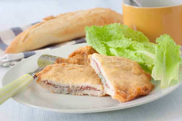 Foto stock: Francês · profundo · frito · salada · branco