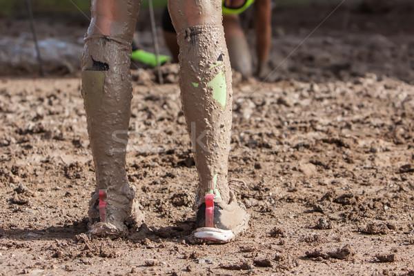 Kadın bacaklar kirli çorap çamur aşırı Stok fotoğraf © trexec