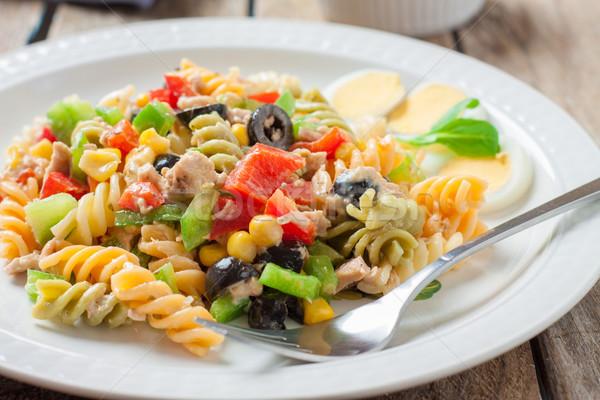 İtalyan makarna salata ton balığı sos çatal Stok fotoğraf © trexec