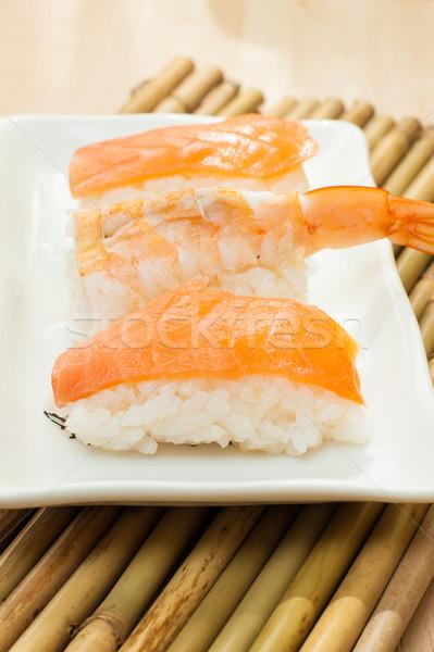 Sushi salmão camarão branco bandeja comida Foto stock © trexec