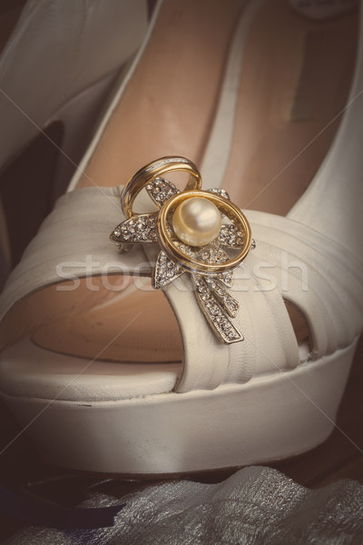 bridal shoes and rings Stock photo © trexec