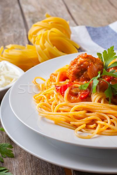 Italiano macarrão almôndegas salsa molho de tomate branco Foto stock © trexec