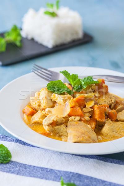 Indiai étel csirkés curry indiai stílus rizs menta Stock fotó © trexec