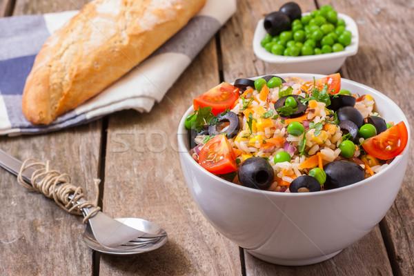 Arroz salada fresco saladeira madeira superfície Foto stock © trexec
